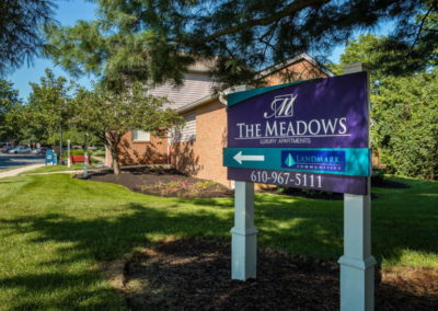 Entrance sign to The Meadows apartments in Emmaus, PA