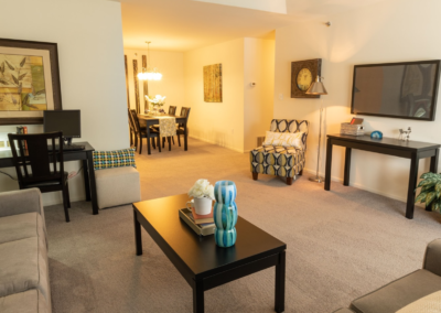 Furnished carpet living room in Lehigh Valley apartment with lovely dining space in The Meadows