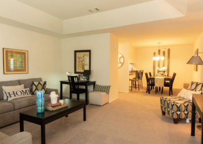 Stellar furnished living room in The Meadows apartments for rent in Lehigh Valley, PA