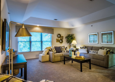 Lovely living room with open dining room floor layout for conveience in Lehigh Valley apartment rentals